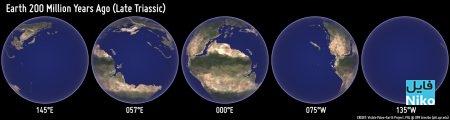 جای قاره های زمین در 200 میلیون سال پیش